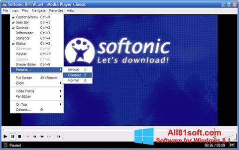Ekran görüntüsü Media Player Classic Windows 8.1