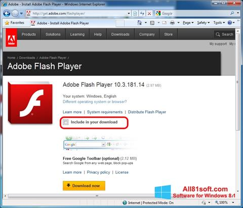 Ekran görüntüsü Adobe Flash Player Windows 8.1