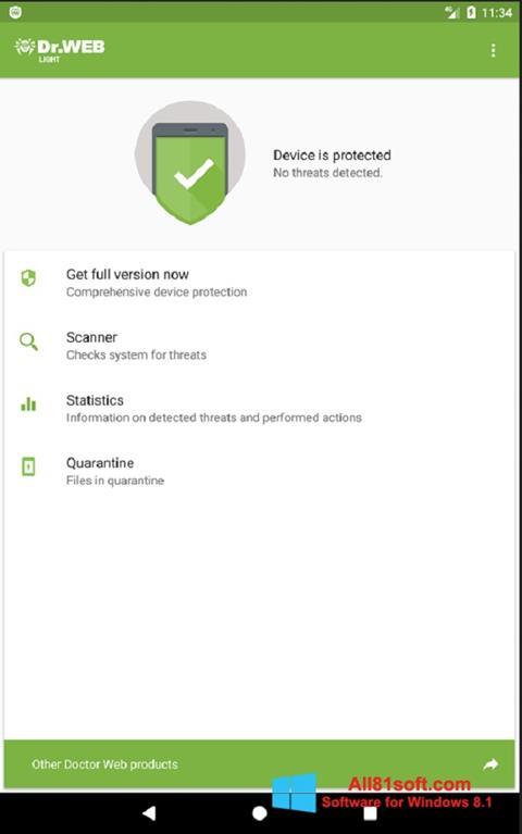 Ekran görüntüsü Dr.Web Light Windows 8.1