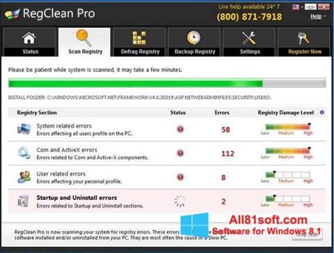 Ekran görüntüsü RegClean Pro Windows 8.1