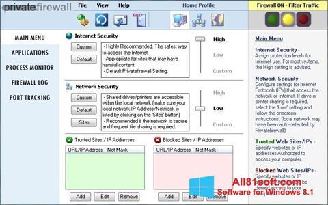 Ekran görüntüsü Privatefirewall Windows 8.1