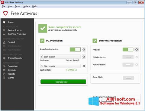 Ekran görüntüsü Avira Free Antivirus Windows 8.1