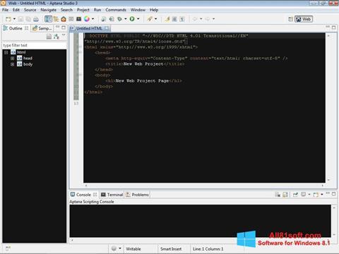 Ekran görüntüsü Aptana Studio Windows 8.1