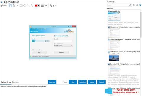 Ekran görüntüsü AeroAdmin Windows 8.1