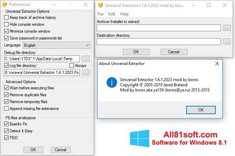 Ekran görüntüsü Universal Extractor Windows 8.1