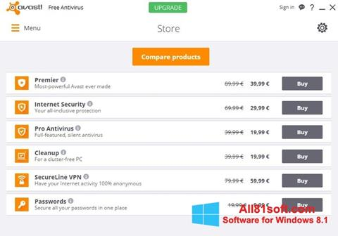 Ekran görüntüsü Avast Free Antivirus Windows 8.1
