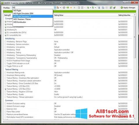 Ekran görüntüsü NVIDIA Inspector Windows 8.1