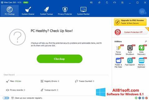Ekran görüntüsü Wise Care 365 Windows 8.1
