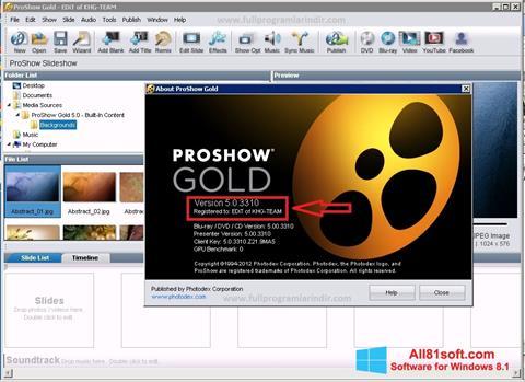 Ekran görüntüsü ProShow Gold Windows 8.1