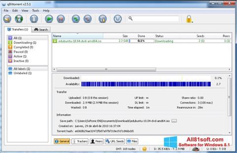 Ekran görüntüsü qBittorrent Windows 8.1