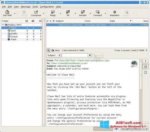 Ekran görüntüsü Claws Mail Windows 8.1