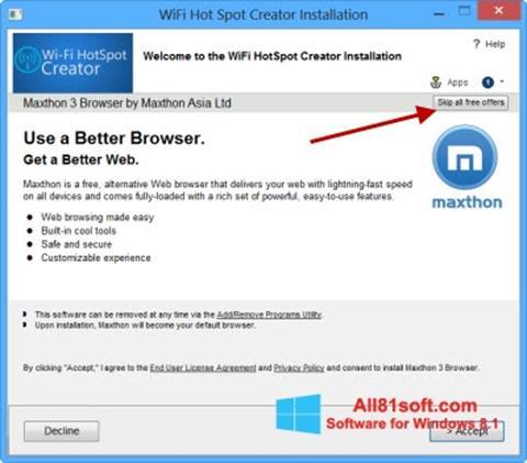 Ekran görüntüsü Wi-Fi HotSpot Creator Windows 8.1