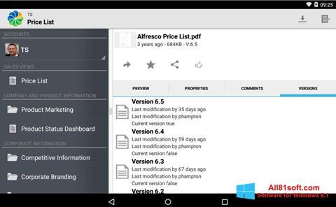 Ekran görüntüsü Alfresco Windows 8.1