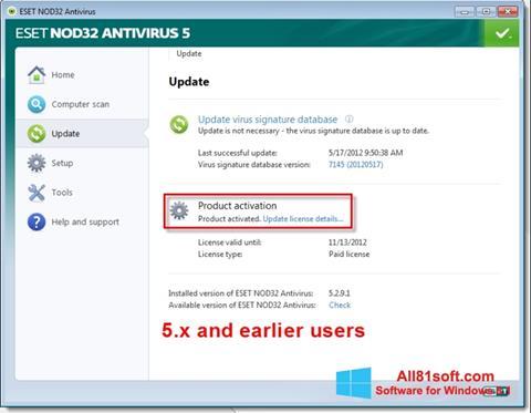 Ekran görüntüsü ESET NOD32 Windows 8.1