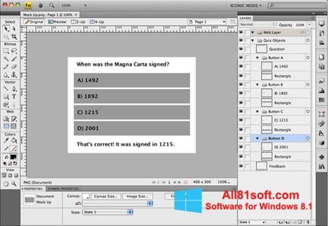 Ekran görüntüsü Adobe Fireworks Windows 8.1