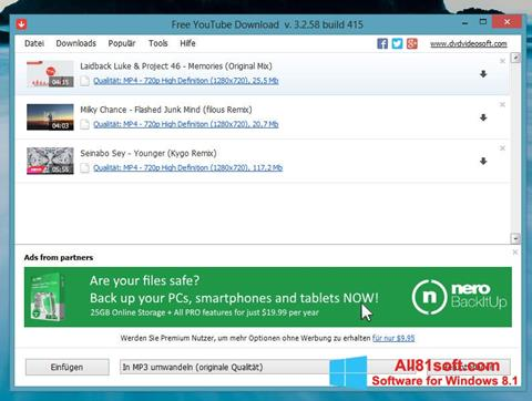 Ekran görüntüsü Free YouTube Download Windows 8.1