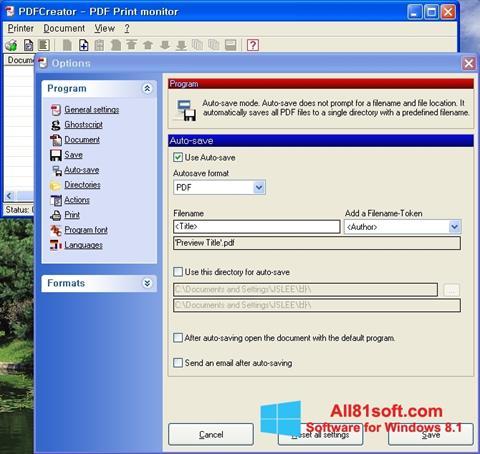 Ekran görüntüsü PDFCreator Windows 8.1