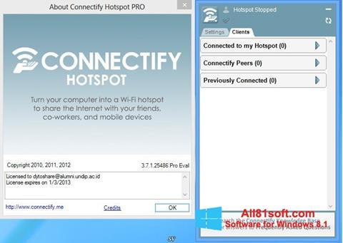 Ekran görüntüsü Connectify Hotspot Windows 8.1
