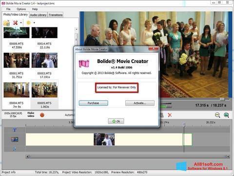 Ekran görüntüsü Bolide Movie Creator Windows 8.1