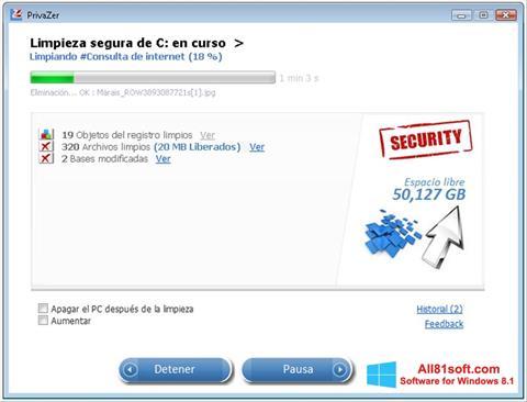 Ekran görüntüsü PrivaZer Windows 8.1