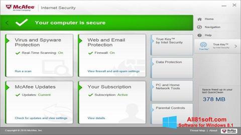 Ekran görüntüsü McAfee Windows 8.1
