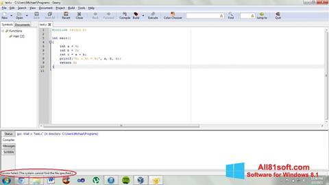 Ekran görüntüsü Geany Windows 8.1