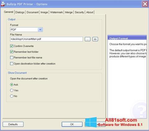 Ekran görüntüsü BullZip PDF Printer Windows 8.1