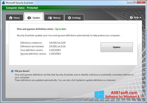 Ekran görüntüsü Microsoft Security Essentials Windows 8.1