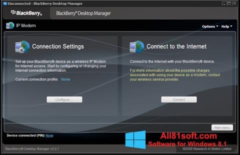 Ekran görüntüsü BlackBerry Desktop Manager Windows 8.1