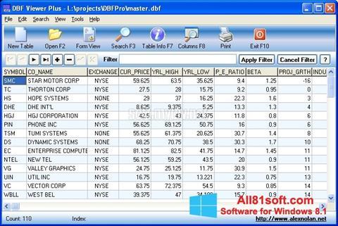 Ekran görüntüsü DBF Viewer Windows 8.1