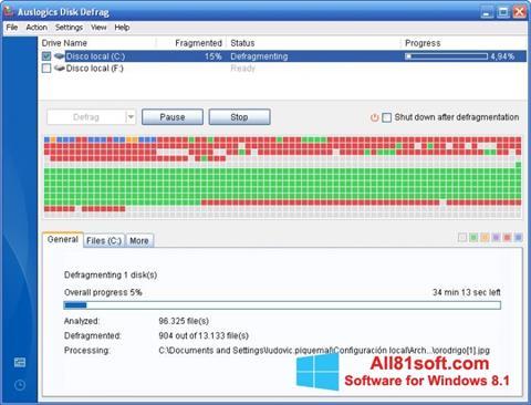 Ekran görüntüsü Auslogics Disk Defrag Windows 8.1