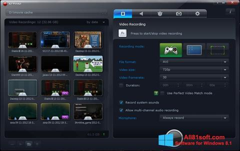 Ekran görüntüsü Action! Windows 8.1