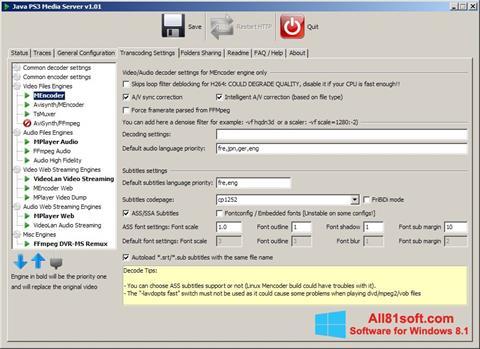 Ekran görüntüsü PS3 Media Server Windows 8.1