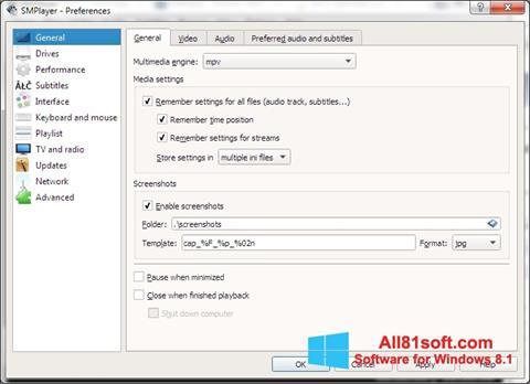Ekran görüntüsü SMPlayer Windows 8.1