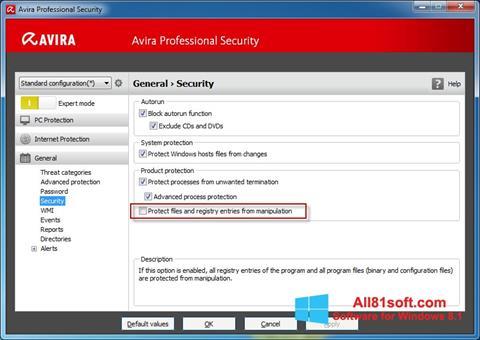 Ekran görüntüsü Avira Professional Security Windows 8.1