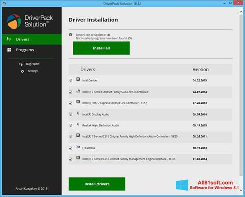 Ekran görüntüsü DriverPack Solution Windows 8.1