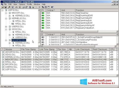 Ekran görüntüsü Dependency Walker Windows 8.1