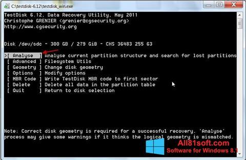 Ekran görüntüsü TestDisk Windows 8.1