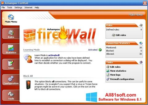 Ekran görüntüsü Ashampoo Firewall Windows 8.1