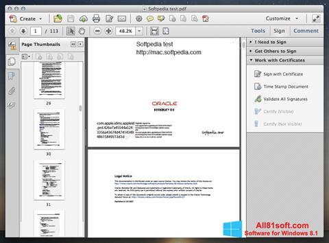Ekran görüntüsü Adobe Acrobat Windows 8.1