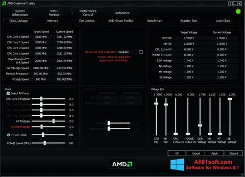 Ekran görüntüsü AMD Overdrive Windows 8.1