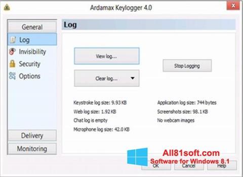Ekran görüntüsü Ardamax Keylogger Windows 8.1